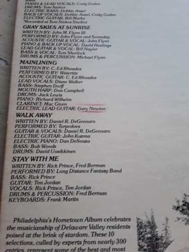 album back cover with track listings.